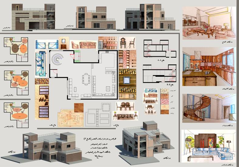 طرح 3 معماری پروژه طراحی داخلی دکوراسیون