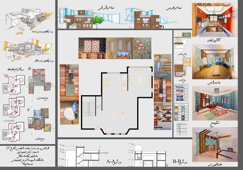 طرح 3 معماری پروژه طراحی داخلی 00565