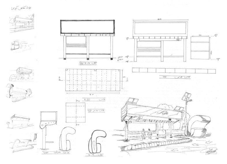 کارگاه مصالح و ساخت ایستگاه اتوبوس 01114