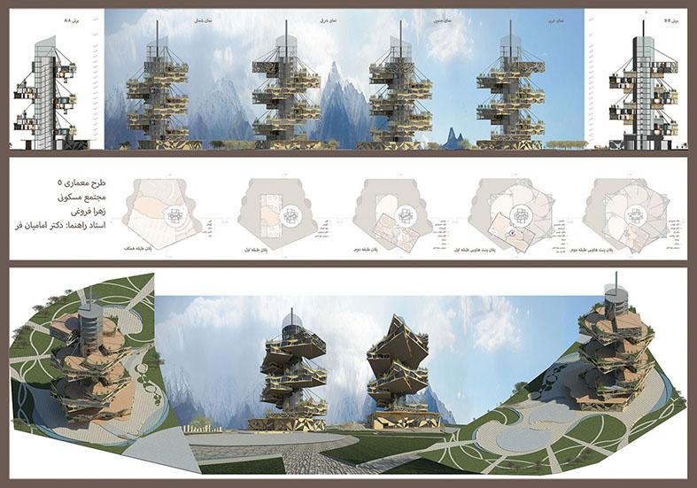 طرح معماری 5 پروژه مجتمع مسکونی 00144