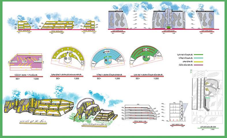 طرح معماری 2 پروژه طراحی پاساژ تجاری 00817