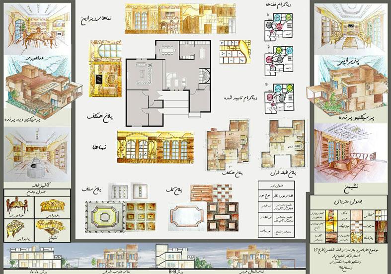 طرح 3 معماری پروژه طراحی داخلی 00563