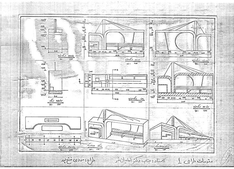 مقدمات طراحی معماری ایستگاه اتوبوس 0127